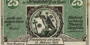 25 Pfennig Notgeld City of Friedeberg am Queis. Now city in Poland. Mirsk. Banknote