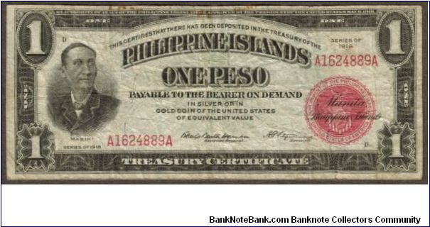p60a 1918 Philippine Islands 1 Peso Treasury Certificate Banknote