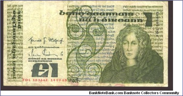 Dark olive-green and green on multicolour underrpint. Queen Medb at right. Old writing on back. 