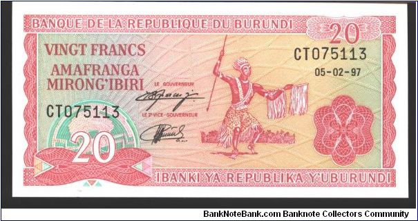 Red on multicolour underprint. Face design like #21.