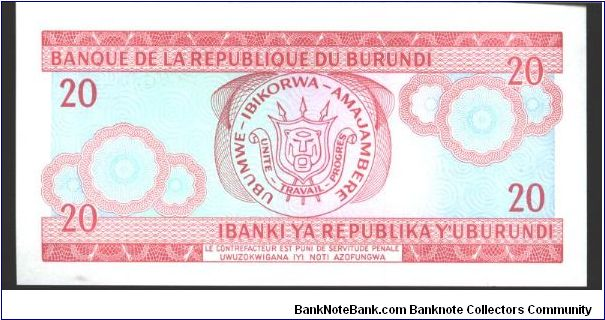 Banknote from Burundi year 1997