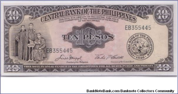 1949 BANK OF THE PHILIPPINES 10 PESOS