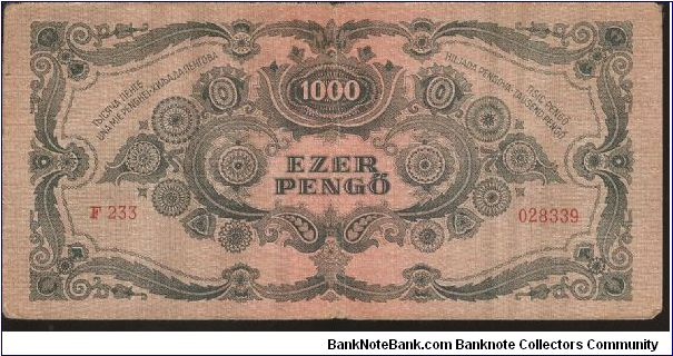 Banknote from Hungary year 1945