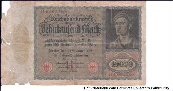 Germany 10 000 mark 1922 (1?) Banknote
