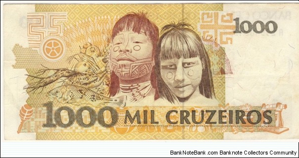 Banknote from Brazil year 1991