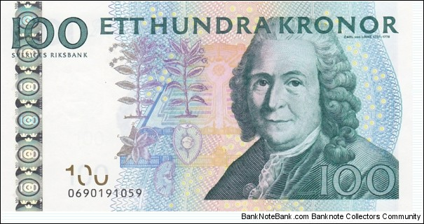 Sweden P64c (100 kronor 2006) I also have Sn:0690191060 UNC Banknote