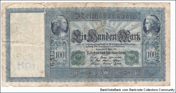 100 Mark(German Empire - 1910/ Green seal) Banknote