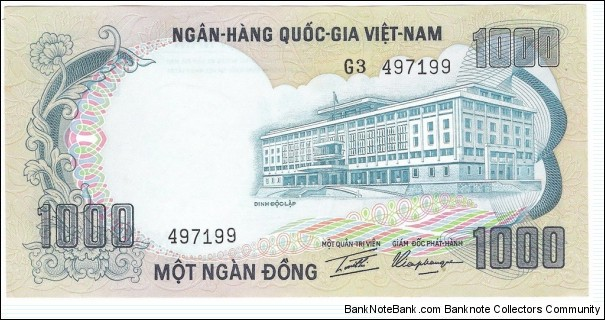 1000 Dong(South Vietnam 1972) Banknote