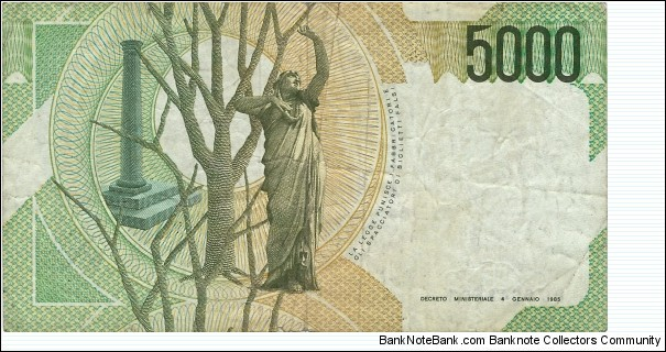Banknote from Italy year 1985