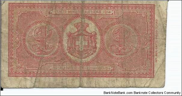 Banknote from Italy year 1914