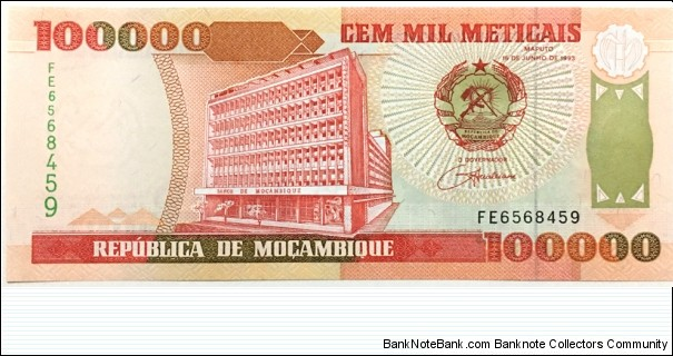 100.000 Meticais Banknote